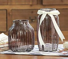 LINDU Farbvase, Vintage, transparente Glasvase,