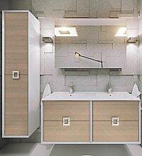 Linea Badmöbel-Set / Komplettbad 6-teilig, mit Doppel-Waschtisch 120 cm in Dekor Eiche Sonoma