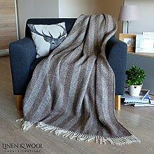 Linen & Cotton Luxus Stilvolle Decke, Tagesdecke, Wolldecke EVEREST - 100% Neuseeland-Wolle (140 x 200cm, Braun)