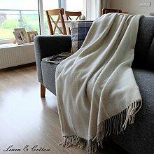 Linen & Cotton Luxus Stilvolle Decke, Tagesdecke, Wolldecke Merino ANNA - 100% Weicher Merinowolle (Grau/ Milch-weiß)