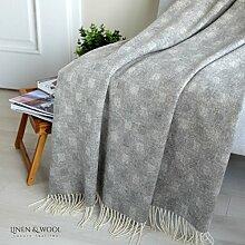 Linen & Cotton Luxus Stilvolle Decke, Tagesdecke, Wolldecke Merino EMMA - 100% Weicher Merinowolle (140 x 200cm) Grau