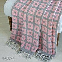 Linen & Cotton Luxus Stilvolle Decke, Tagesdecke, Wolldecke Merino ROME - 100% Weicher Merinowolle (Rosa)