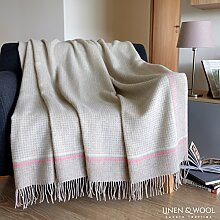 Linen & Cotton Luxus Stilvolle Decke, Tagesdecke, Wolldecke Merino MOSAIC, 100% Weicher Merinowolle - 140 x 200cm, Rosa