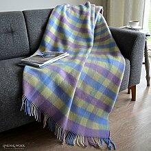 Linen & Cotton Luxus Stilvolle Decke, Tagesdecke, Wolldecke SPRING, 100% Neuseeland-Wolle - 130 x 170cm, Blau /Gelb