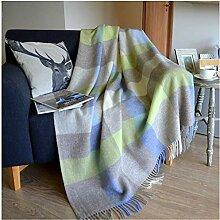 Linen & Cotton Warme Decke Wolldecke Kariert