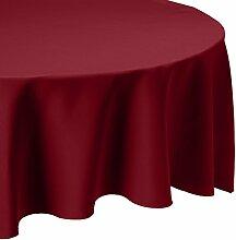 LinenTablecloth 108-Inch Round Polyester Tablecloth burgunderfarben