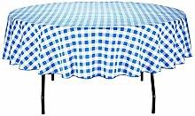 LinenTablecloth 229cm rund Tischdecke, Polyester, blau & weiß Checker
