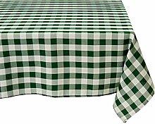 LinenTablecloth 60x 126-inch rechteckig, Polyester Tischdecke grün & weiß Checker