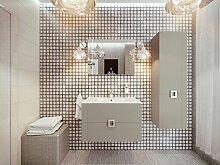 Lines Badmöbel-Set / Komplettbad 4-teilig Cappuccino, mit Waschtisch 80 cm, Spiegel mit LED-Beleuchtung, komplett vormontier