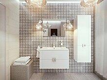 Lines Badmöbel-Set / Komplettbad 4-teilig Weiß Hochglanz, mit Waschtisch 60 cm, Spiegel mit LED-Beleuchtung, komplett vormontier