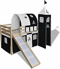 lingjiushopping Hochbett für Kinder mit Rutsche und Leiter aus Holz schwarz und weiß Farbe der Vorhang: Schwarz und Weiß Farbe des Rahmens: natur