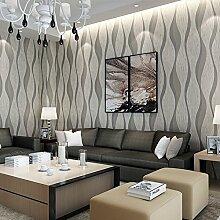 LINGJUN-tapete,Vlies Tapete,modern 3D gestreifte tapeten Rolle Wandtapete Dekoration 10M für schlafzimmer wohnzimmer (Hellgrau)