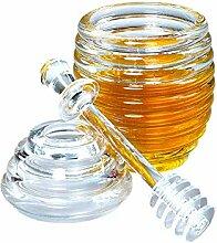 LINGREAL Honigglas mit Schöpflöffel,
