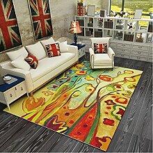 Lingyun Wohnzimmer Teppich Schlafzimmer Teppich Bett Teppich abstrakte Kunst Couchtisch Teppiche ( Farbe : 4# , größe : 160*230CM )