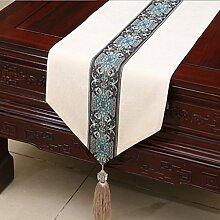 LINGZHIGAN Beige Blume Muster Tuch Tischläufer Modern Einfache Mode Upscale Wohnzimmer Küche Restaurant Hotel Heimtextilien (Dieses Produkt verkauft nur Tischläufer) 33 * 230cm