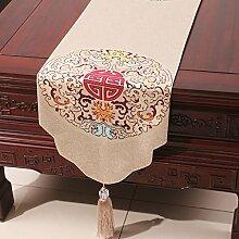 LINGZHIGAN Beige Blumenmuster Tuch Tischläufer Modern Einfache Mode Upscale Wohnzimmer Küche Restaurant Hotel Heimtextilien (Dieses Produkt verkauft nur Tischläufer) 33 * 200cm