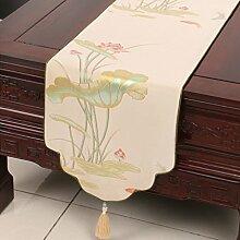 LINGZHIGAN Beige Blumenmuster Tuch Tischläufer Modern Einfache Mode Upscale Wohnzimmer Küche Restaurant Hotel Heimtextilien (Dieses Produkt verkauft nur Tischläufer) 33 * 270cm