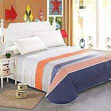 LINGZHIGAN Blau Orange Grau Streifen Muster Bettwäsche Einzelstück Baumwolle Herbst und Winter Single oder Double 1.2m 1.5m 1.8m Bett Modern Simple Bed Sheet ( größe : 200*230cm )
