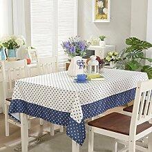 LINGZHIGAN Blaue und weiße Tischdecke Stoff Art Einfache rechteckige Tee-Tabelle Hochzeit Restaurant Party Tisch (Dieses Produkt verkauft nur Tischtücher) ( größe : 145*200cm )