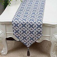 LINGZHIGAN Blaues Blumenmuster Tuch Tischläufer Modern Einfache Mode Upscale Wohnzimmer Küche Restaurant Hotel Heimtextilien (Dieses Produkt verkauft nur Tischläufer) 33 * 200cm