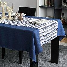 LINGZHIGAN Blue Ripple Tischdecke Stoff Art Einfache rechteckige Tee-Tabelle Hochzeit Restaurant Party Tisch (Dieses Produkt verkauft nur Tischtücher) ( größe : 140*140cm )