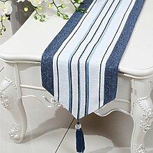 LINGZHIGAN Blue Stripe Tuch Tischläufer Modern Simple Fashion Upscale Wohnzimmer Küche Restaurant Hotel Heimtextilien (Dieses Produkt verkauft nur Tischläufer) 33 * 150cm