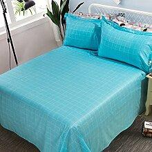 LINGZHIGAN Blue Striped Gittermuster Baumwollbettwäsche Einzelstück 1.5 / 1.8 / 2m Einzelbett Doppelbett Student Schlafsaal Tagesdecken ( größe : 180*230cm )