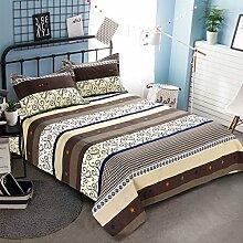 LINGZHIGAN Brown Stripe Pattern Dicker Baumwollbettwäsche Einzelstück Sommer Winter Bettlaken Einzelbett Doppelbett 1.5m 1.8m 2.0m