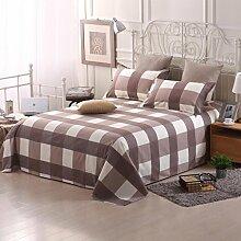 LINGZHIGAN Brown Striped Lattice Bettwäsche Einzelstück Cotton Twill Student Dormitory 1.5m Einzelbettdecken Kinder 1.8m 2.0m Doppelbett Bettwäsche ( größe : 150*230cm )