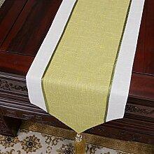 LINGZHIGAN gelb Blumenmuster Tuch Tischläufer Modern Einfache Mode Upscale Wohnzimmer Küche Restaurant Hotel Heimtextilien (Dieses Produkt verkauft nur Tischläufer) 33 * 180cm