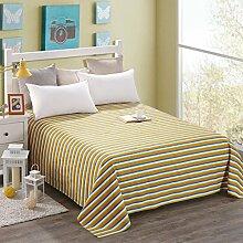 LINGZHIGAN Gelb Weißes Streifenmuster Baumwollbettwäsche Einzelnes Student Schlafsaal Doppelbett Blatt 1.2m 1.5m 1.8m Bett ( größe : 230*245cm )