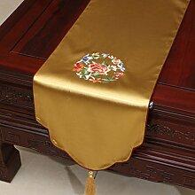 LINGZHIGAN Gelbe Blumenmuster Satin Tischläufer Modern Einfache Mode Upscale Wohnzimmer Küche Restaurant Hotel Heimtextilien (Dieses Produkt verkauft nur Tischläufer) 33 * 200cm