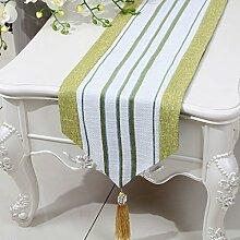 LINGZHIGAN Gelbe Streifen Tuch Tischläufer Modern Einfache Mode Upscale Wohnzimmer Küche Restaurant Hotel Heimtextilien (Dieses Produkt verkauft nur Tischläufer) 33 * 200cm