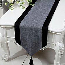 LINGZHIGAN Grau Blume Muster Tuch Tischläufer Modern Einfache Mode Upscale Wohnzimmer Küche Restaurant Hotel Heimtextilien (Dieses Produkt verkauft nur Tischläufer) 33 * 200cm