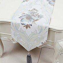 LINGZHIGAN Grau Blumenmuster Satin Tischläufer Modern Einfache Mode Upscale Wohnzimmer Küche Restaurant Hotel Heimtextilien (Dieses Produkt verkauft nur Tischläufer) 33 * 230cm