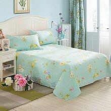LINGZHIGAN Green Flower Pattern Cotton Kinderbett Bettwäsche Student Dormitory 1.5m 1.8m 2.0m Single Doppelbett Bettdecken ( größe : 160*230cm )