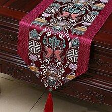 LINGZHIGAN Lila Blumenmuster Satin Tischläufer Modern Einfache Mode Upscale Wohnzimmer Küche Restaurant Hotel Heimtextilien (Dieses Produkt verkauft nur Tischläufer) 33 * 150cm