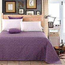 LINGZHIGAN Lila Gestreiftes Gittermuster Modern Einfache Baumwollbettwäsche Einzelbett Einzelbett Bettdecke ( größe : 180*230cm )