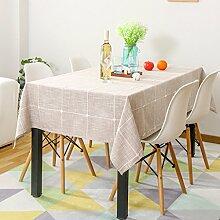 LINGZHIGAN Literatur und Kunst gesticktes Gitter Tischdecke Stoff Kunst Einfache rechteckige Teetabelle Hochzeit Restaurant Party Tisch (Dieses Produkt verkauft nur Tischtücher) ( Farbe : A , größe : 130*130cm )
