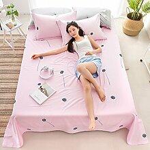 LINGZHIGAN Rosa Baumwollbettwäsche Einzelstück Doppelbett Bettdecken 1,2m 1,5m 1,8m 2,0m Bett Studentenschlafzimmer Heimtextilien ( größe : 180*230cm )