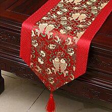 LINGZHIGAN Rot Blumenmuster Satin Tischläufer