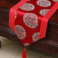 LINGZHIGAN Rot Blumenmuster Satin Tischläufer Modern Einfache Mode Upscale Wohnzimmer Küche Restaurant Hotel Heimtextilien (Dieses Produkt verkauft nur Tischläufer) 33 * 230cm