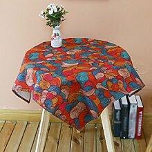 LINGZHIGAN Runder Tisch Tischdecke Stoff Baumwolle Hanf Stoff Kunst einfach rechtwinklig Tee Tisch Hochzeit Restaurant Party Tisch (Dieses Produkt verkauft nur Tischtücher) ( größe : 85*85CM )