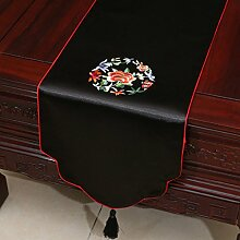 LINGZHIGAN Schwarzes Blumenmuster Satin Tischläufer Modern Einfache Mode Upscale Wohnzimmer Küche Restaurant Hotel Heimtextilien (Dieses Produkt verkauft nur Tischläufer) 33 * 150cm