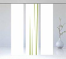 Linia green Flächenvorhang Set 3tlg, Kombination bestehend aus 3 Teilen 1 x Linia green + 2 x weiss - Modernes Schiebegardinen Set - Schiebevorhang Set, - 3er - Höhe 2,45 m