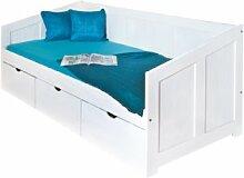Links 20900190 Bett 90x200 cm Kinderbett Funktionsbett Stauraumbett massiv Schubladen, weiß