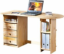 Links 30600570 Schreibtisch Computertisch PC-Tisch Bürotisch Tastaturauszug massiv 3 Schubladen