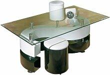 Links 50100015 Couchtisch Glastisch Wohnzimmertisch Wohnzimmer Tisch Glas 2 Hocker schwarz weiß