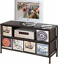 Links 85900020 TV Regal Hifi Media Rack TV Center Konsole Vintage Retro USA Metall 6 Schubladen