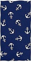 linomo Handtuch Nautisch Anker Muster Handtuch